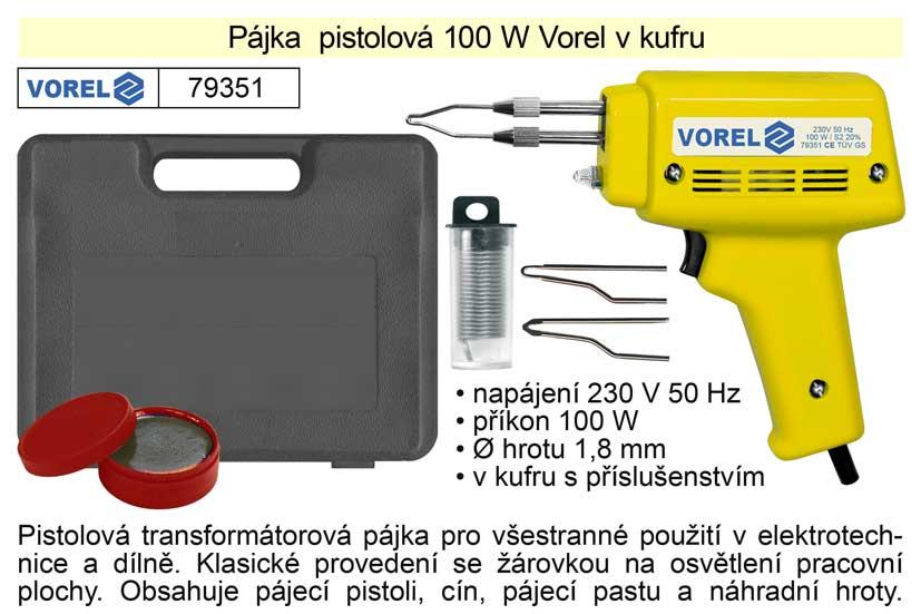Pájka pistolová 100 W Vorel v kufru