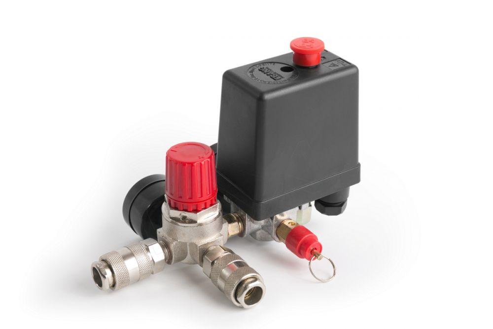 Tlakový spínač s vypínačem a regulátorem tlaku ke kompresoru 0-8 bar / 230 V SILVER