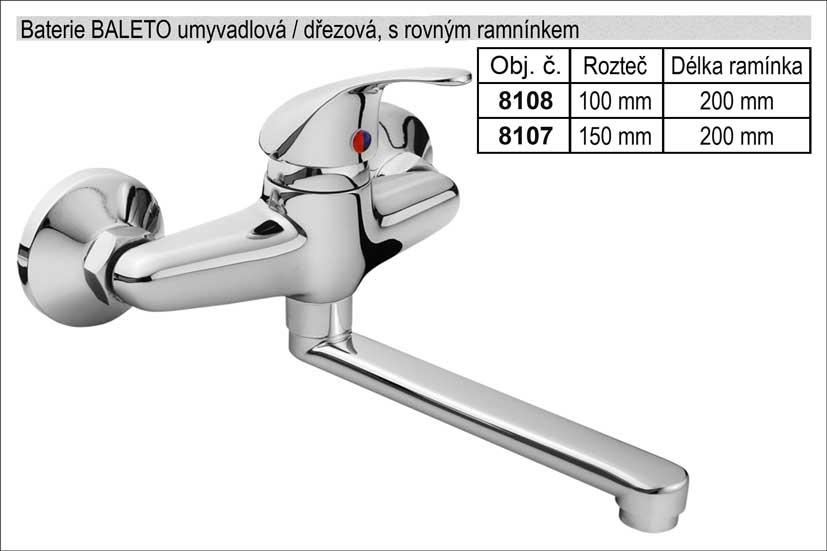 Baterie dřezová / umyvadlová 150mm chromovaná s rovným ramínkem délka 200mm Nářadí 1.17Kg MA81007