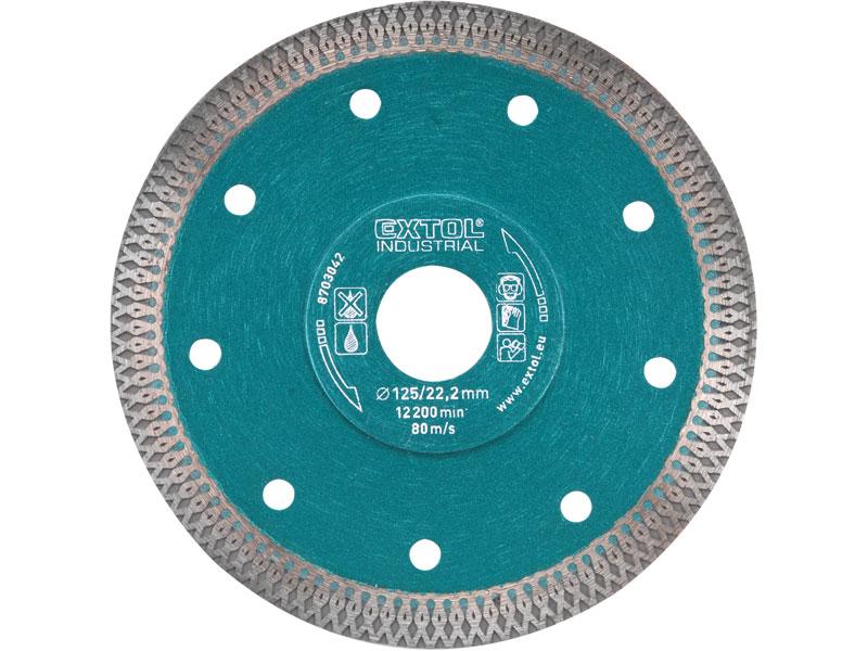 kotouč diamantový řezný turbo Thin Cut, 115x22,2mm, suché i mokré řezání, EXTOL INDUSTRIA