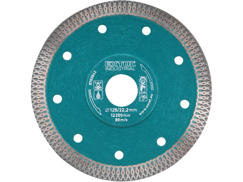 kotouč diamantový řezný turbo Thin Cut, 125x22,2mm, suché i mokré řezání, EXTOL INDUSTRIAL