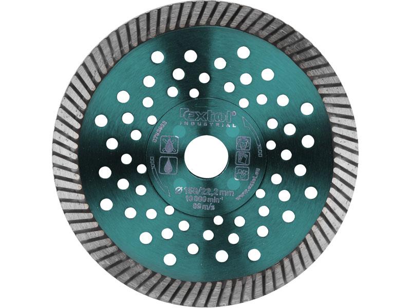 kotouč diamantový řezný turbo Fast Cut, 150x22,2mm, suché i mokré řezání, EXTOL INDUSTRIA