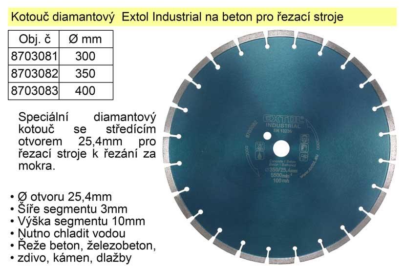 Kotouč diamantový  Extol Industrial na beton 300mm segmentový pro řezací stroje Nářadí 1.41Kg MA8703081