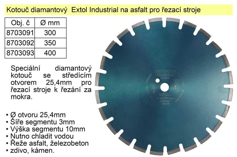 Kotouč diamantový  Extol Industrial na asfalt 400mm segmentový pro řezací stroje