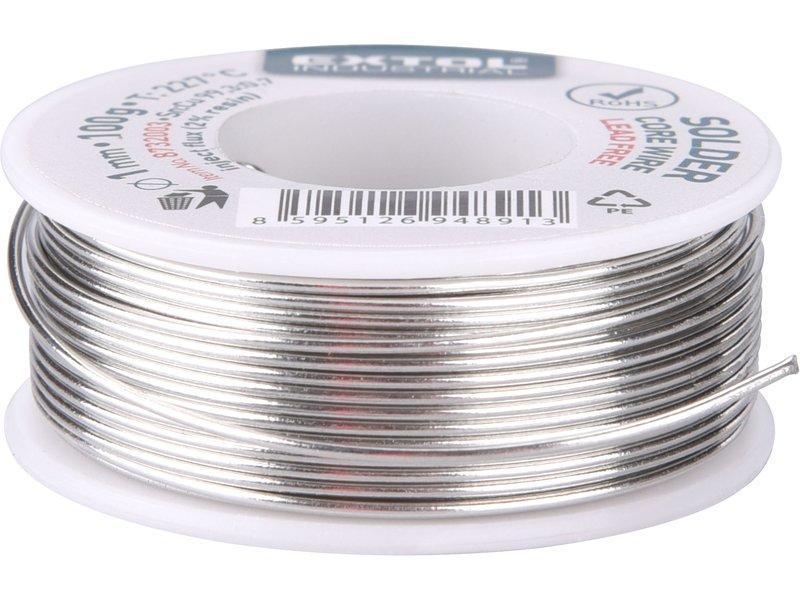 drát pájecí trubičkový, cín, pájka,1mm, Sn99,3/0,7Cu, 100g, EXTOL INDUSTRIAL