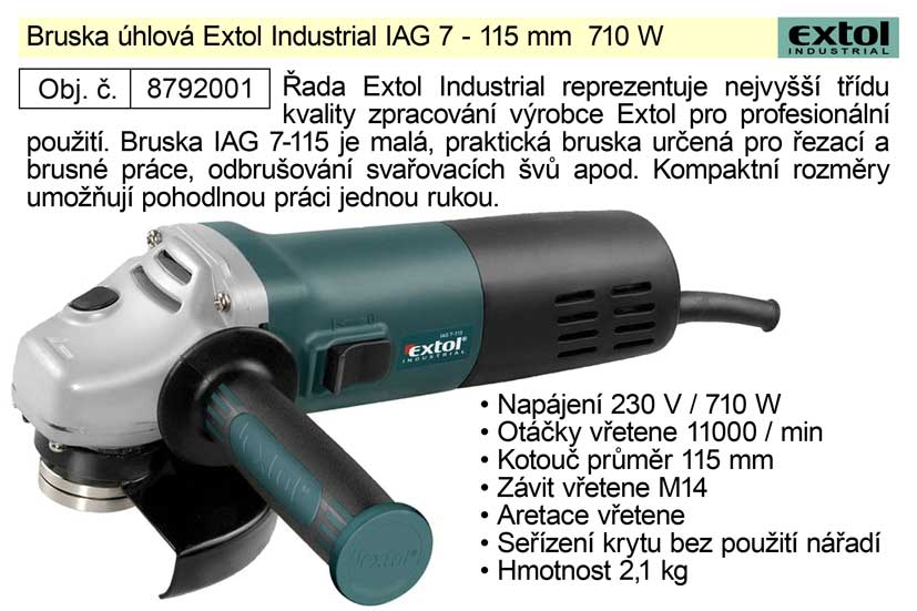 Bruska úhlová, 115mm, 710W, EXTOL INDUSTRIAL, IAG 7-115