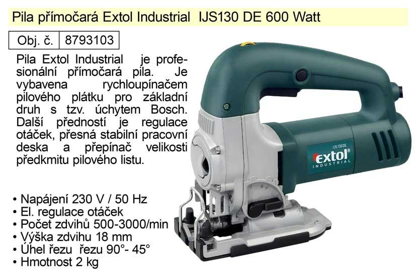 Pila přímočará Extol Industrial  IJS130 DE 600 W