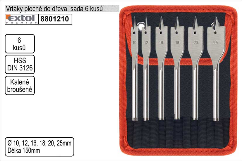 Vrtáky  do dřeva ploché sada 6 kusů Extol Premium 10-25mm