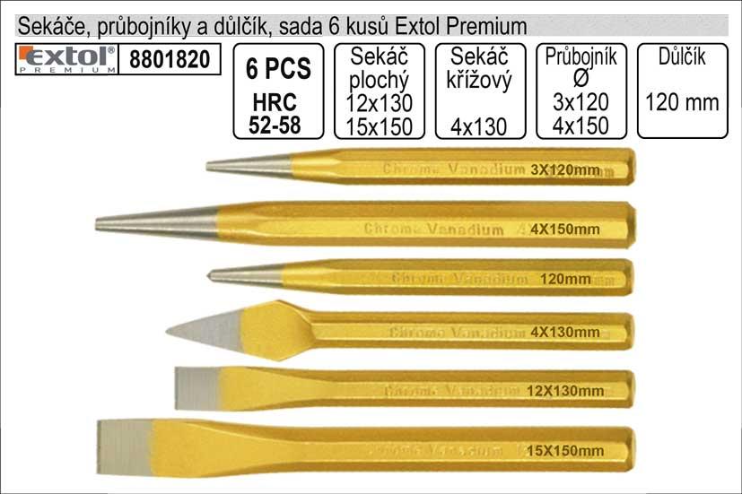 Sekáče průbojníky a důlčíky sada 6 kusů Extol Premium