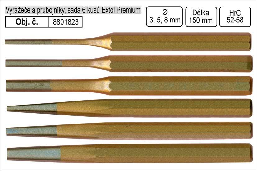 Vyrážeče a průbojníky sada 6 kusů 3-8mm Extol Premium
