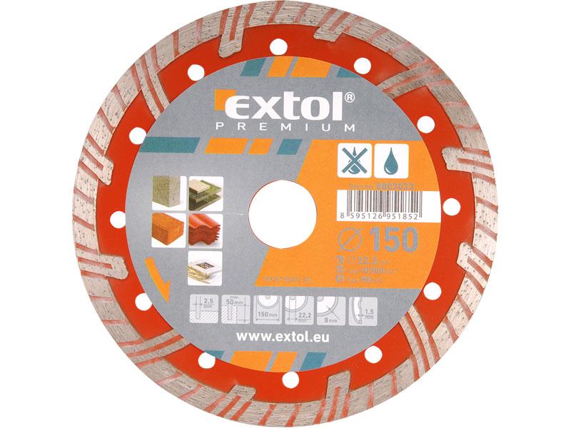 kotouč diamantový řezný turbo plus, 230x22,2mm, suché i mokré řezání, EXTOL PREMIUM
