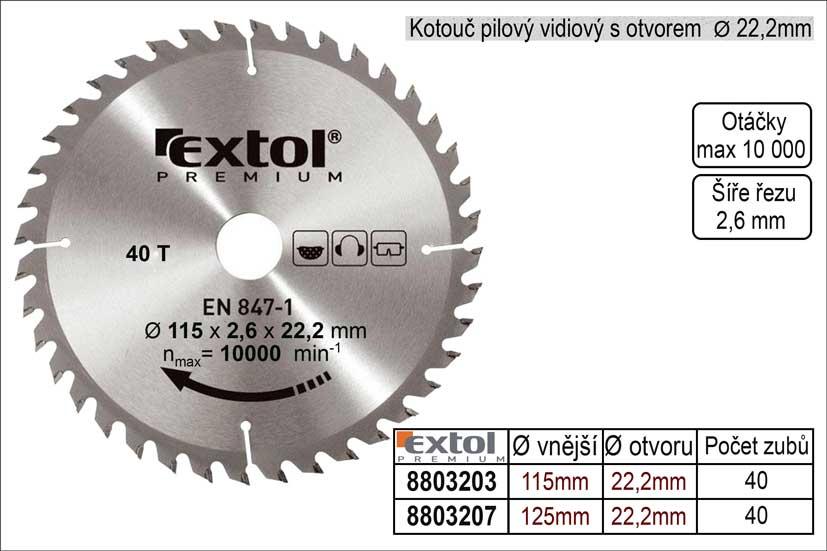 Pilový kotouč s SK plátky 115x22,2mm 40 zubů Extol Premium