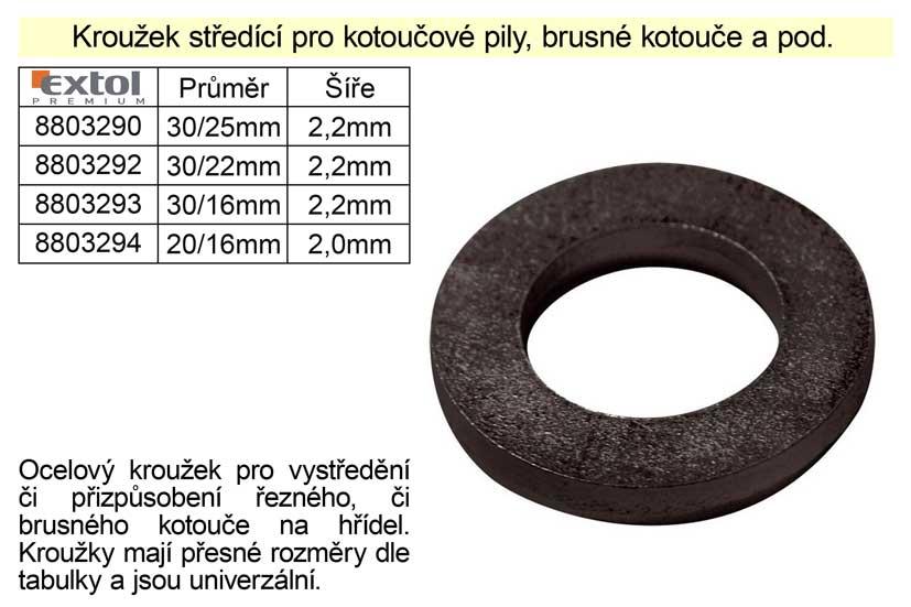 Kroužek středící průměr 30/16mm šíře 2,2mm