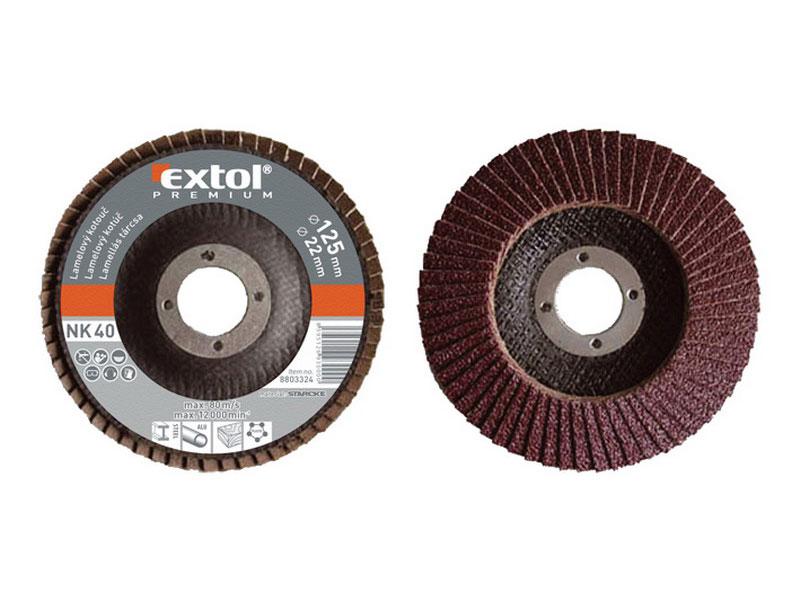 kotouč lamelový šikmý korundový, P100, 125mm, KORUND, EXTOL PREMIUM