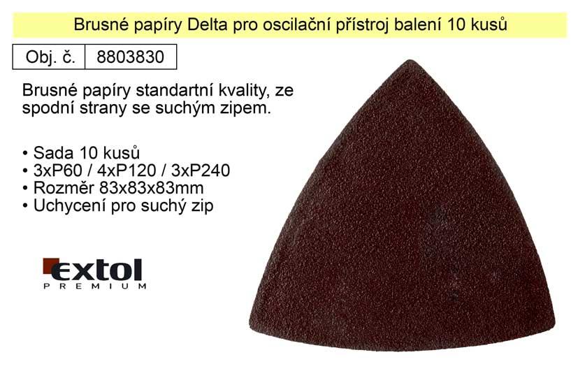 Brusné papíry Delta pro oscilační přístroj balení 10 kusů