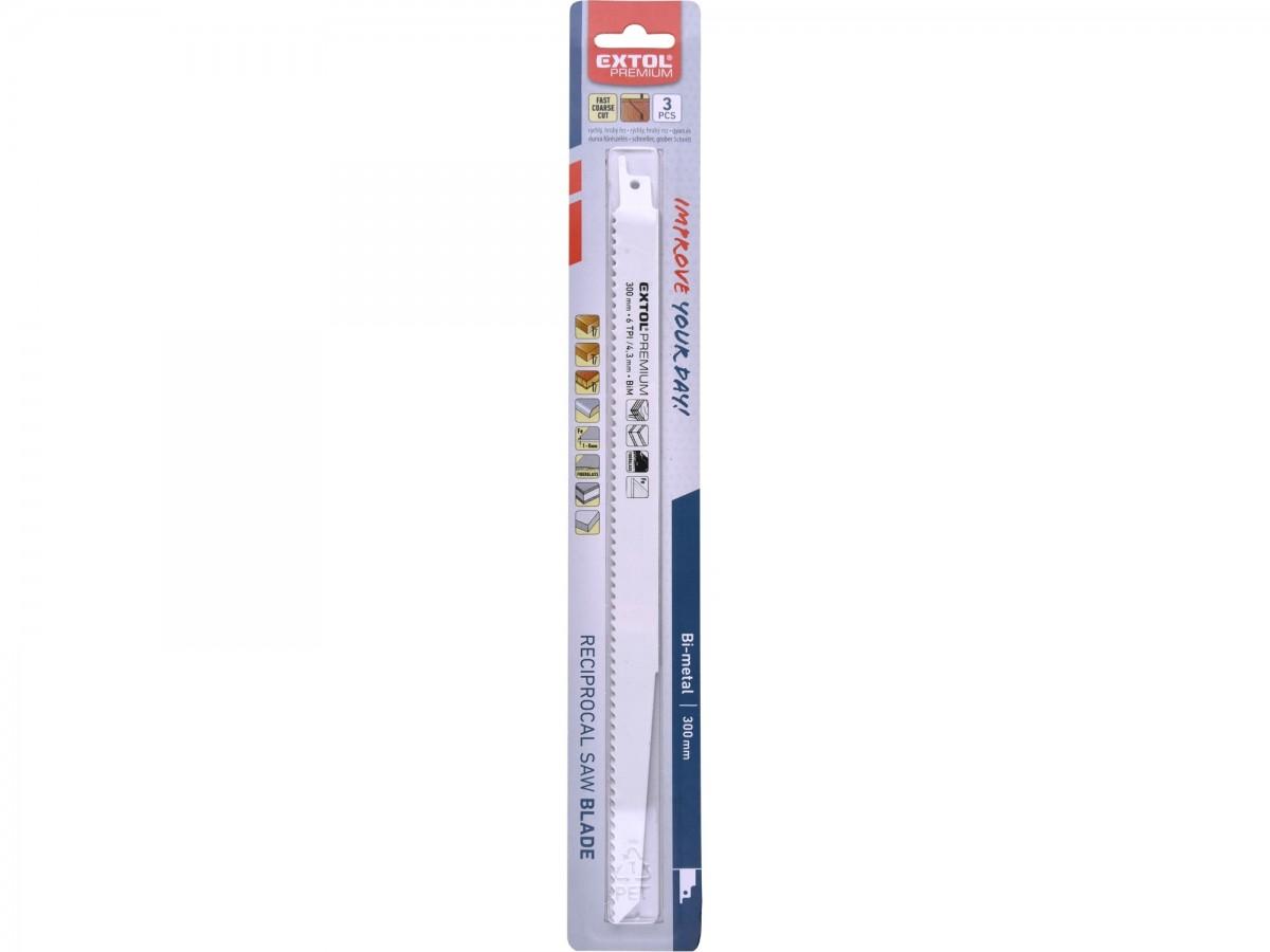 EXTOL PREMIUM plátky do pily ocasky 3ks, 300x19x1,25mm, Bi-metal 8806200
