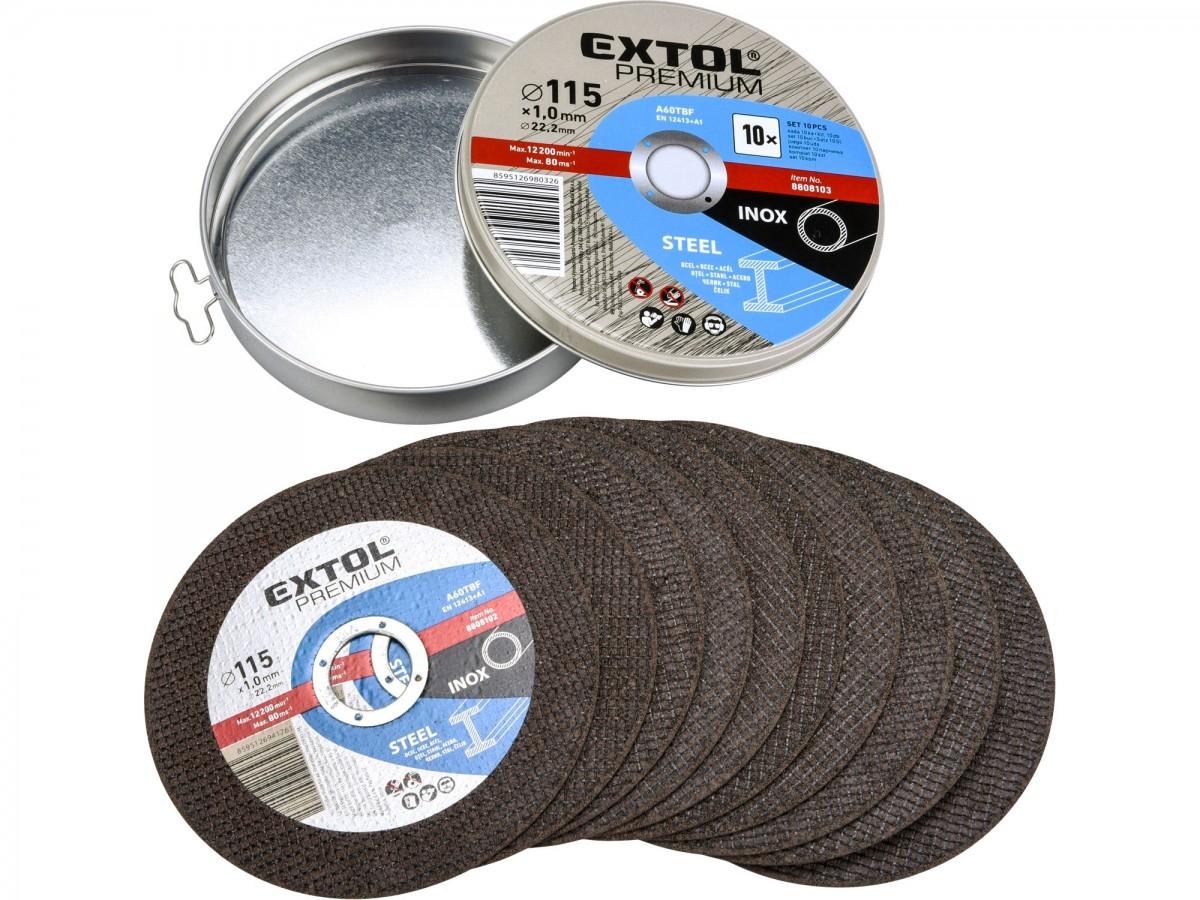 EXTOL PREMIUM kotouč řezný na ocel/nerez, 10ks, 115x1,0x22,2mm 8808101