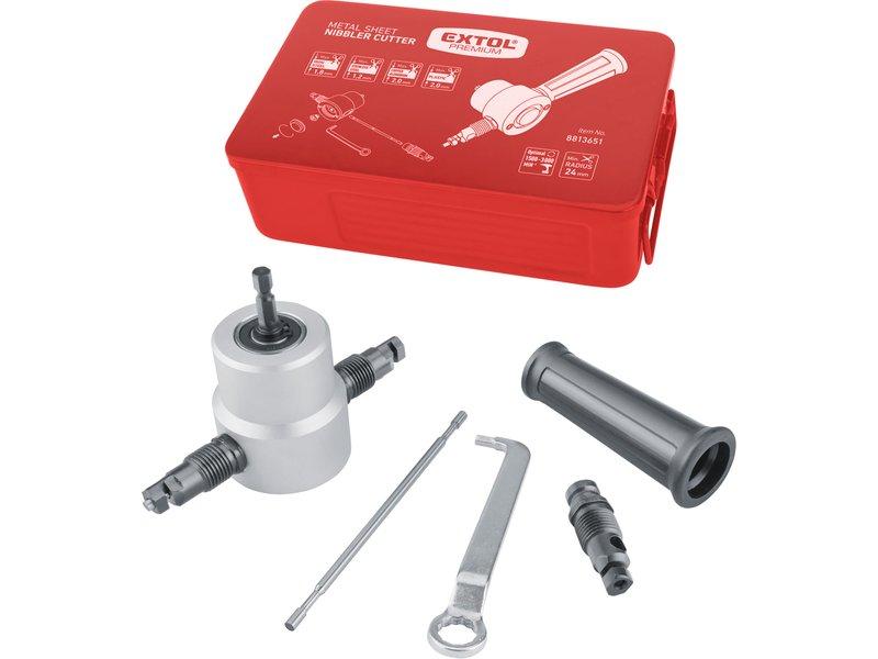 Prostřihovač plechu do vrtačky - nůžky na plech, nástavec na vrtačku Extol Premium