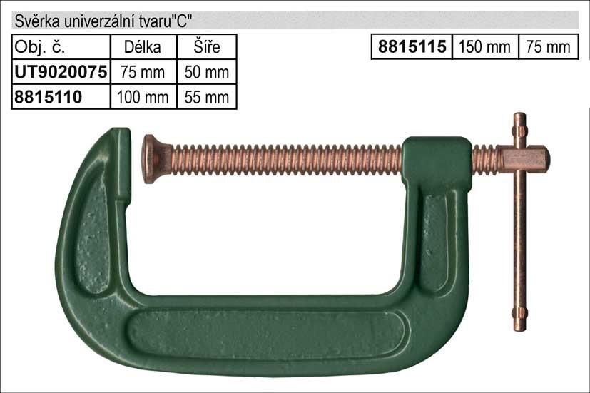 """Svěrka  univerzální tvaru""""C""""   75mm Nářadí 0.42Kg UT9020075"""