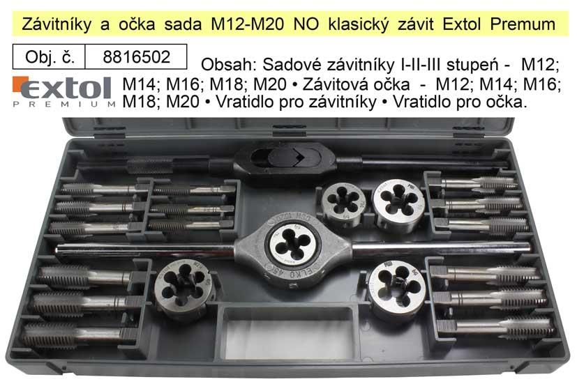 Závitníky a očka sada M12-M20 NO klasický závit, Extol Premum