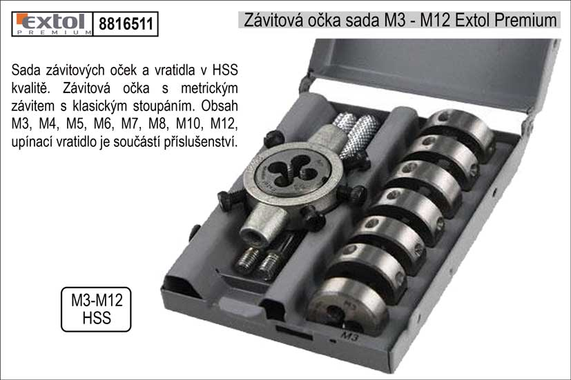 Závitová očka M3 - M12 Extol Premium
