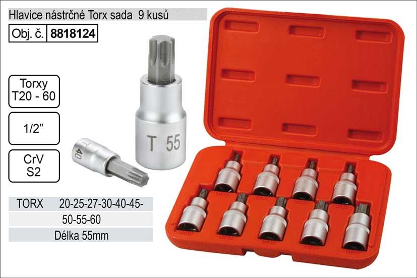 Nástrčné hlavice torx sada 9 kusů T20-T60