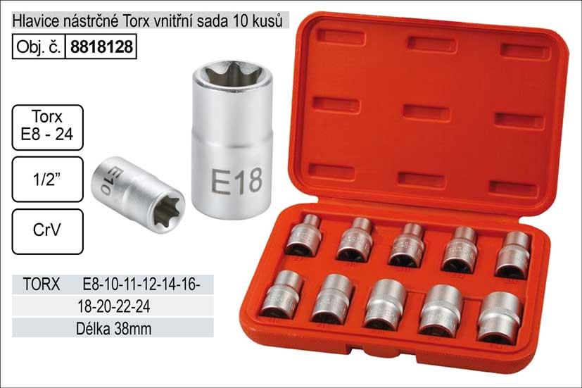 Nástrčné hlavice torx sada 10 kusů vnitřní E8-E24