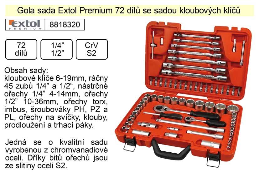 """Gola sada Extol Premium 72 dílů kombinovaná 1/4"""" a 1/2"""" se sadou kloubových klíčů"""