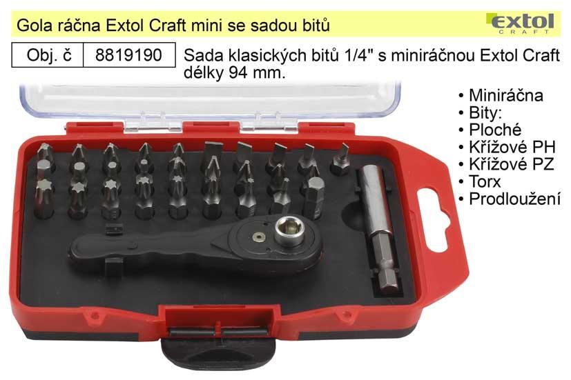 Gola ráčna Extol Craft mini se sadou bitů