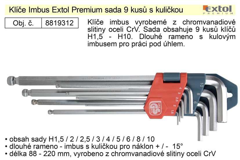 Klíče imbus zahnuté  1,5 - 10 mm dlouhé s kuličkou