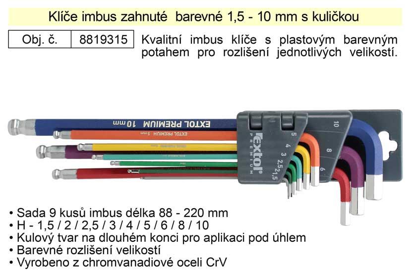 Klíče imbus zahnuté  barevné 1,5 - 10 mm s kuličkou