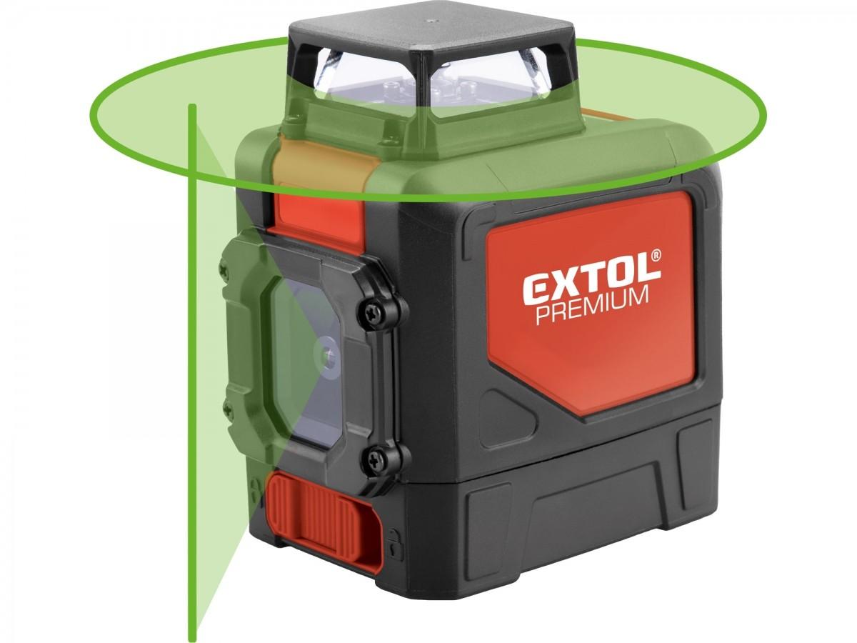 Křížový laser 360° zelený paprsek, samonivelační EXTOL PREMIUM 8823307, dosah 30m/50m
