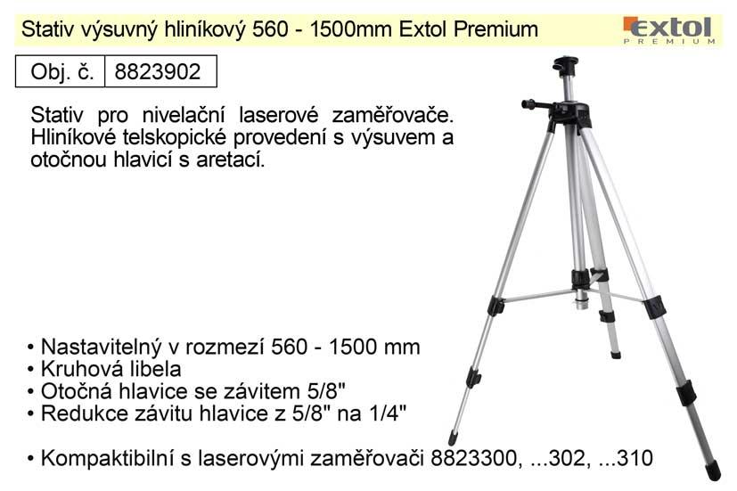 Stativ výsuvný hliníkový 560-1500mm Extol Premium univerzální
