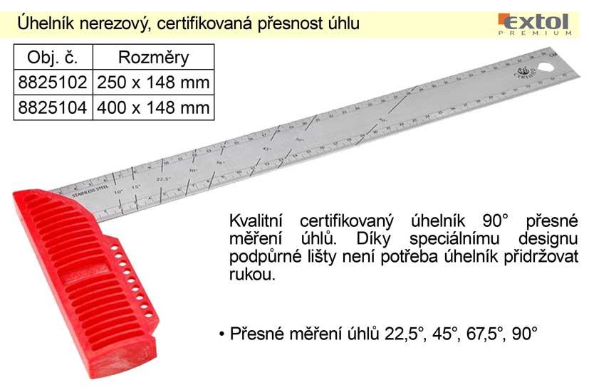 Úhelník nerezový, 250mm, certifikovaná přesnost úhlu