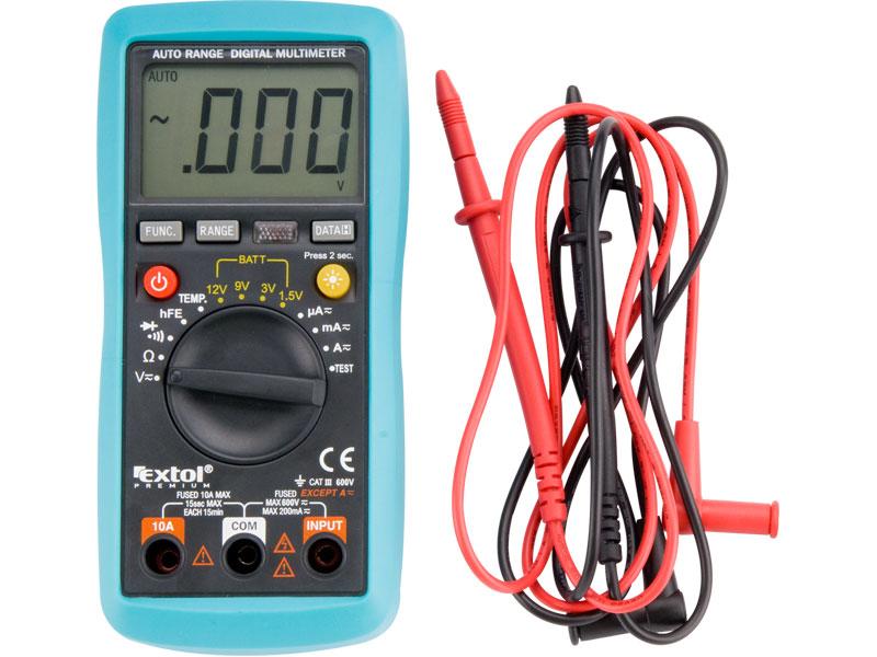 multimetr digitální s automatickou volbou rozsahů, rozsah měření: DC napětí 200mV-600V, A