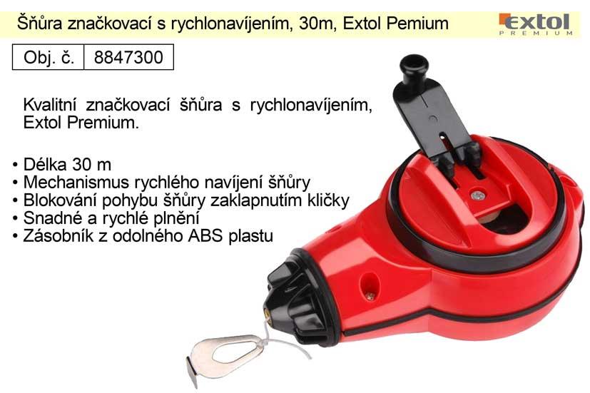 Šňůra značkovací s rychlonavíjením, 30m, Extol Pemium Nářadí 0.192Kg MA8847300