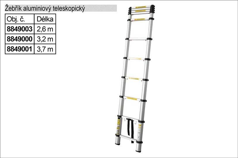Žebřík hliníkový /Alu/ teleskopický 3,8m