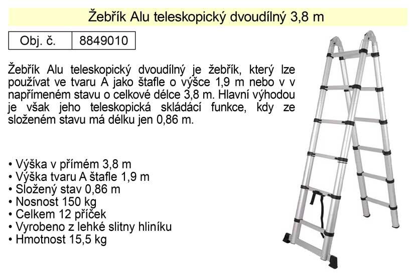 Žebřík Alu teleskopický dvoudílný celková délka 3,8 m