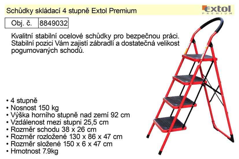 Schůdky skládací 4 stupně Extol Premium