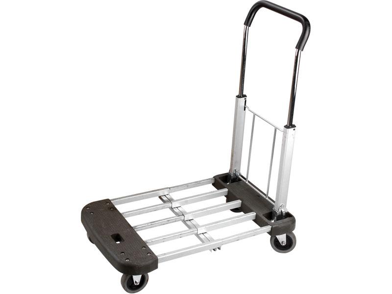 vozík skládací, nastavitelná nosná plocha 53-74x44cm, nosnost 150kg, velikost složeného v