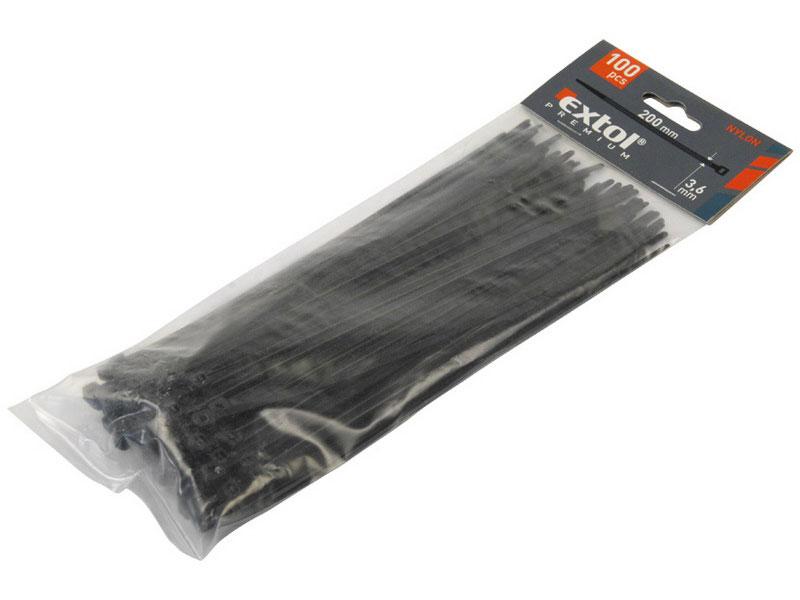 pásky stahovací černé, 200x3,6mm, 100ks, NYLON, EXTOL PREMIUM (TO-73894)