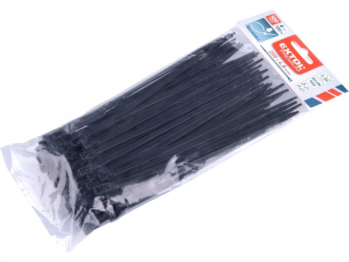 pásky stahovací černé rozpojitelné,   200x4,8mm,100ks, NYLON, EXTOL PREMIUM