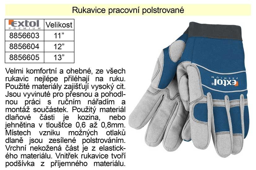 """Pracovní rukavice pro mechaniky Extol Premium polstrované vel. 12"""" Nářadí 0.14Kg MA8856604"""