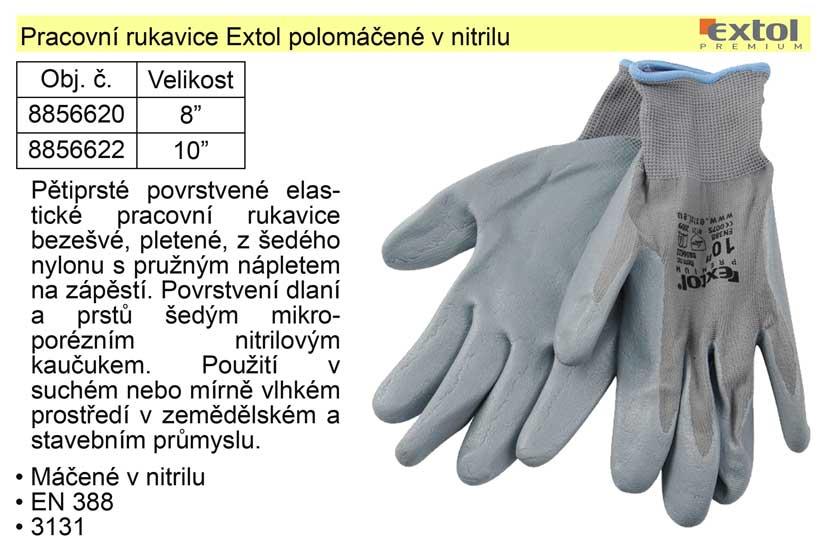 """Pracovní rukavice Extol polomáčené v nitrilu vel. 8"""""""