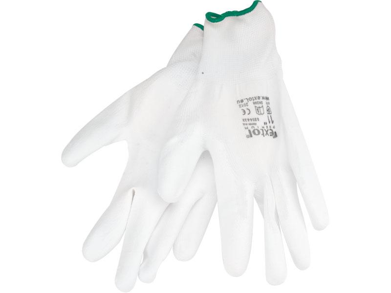 """rukavice z polyesteru polomáčené v PU, bílé, 9"""", velikost 9"""", EXTOL PREMIUM"""