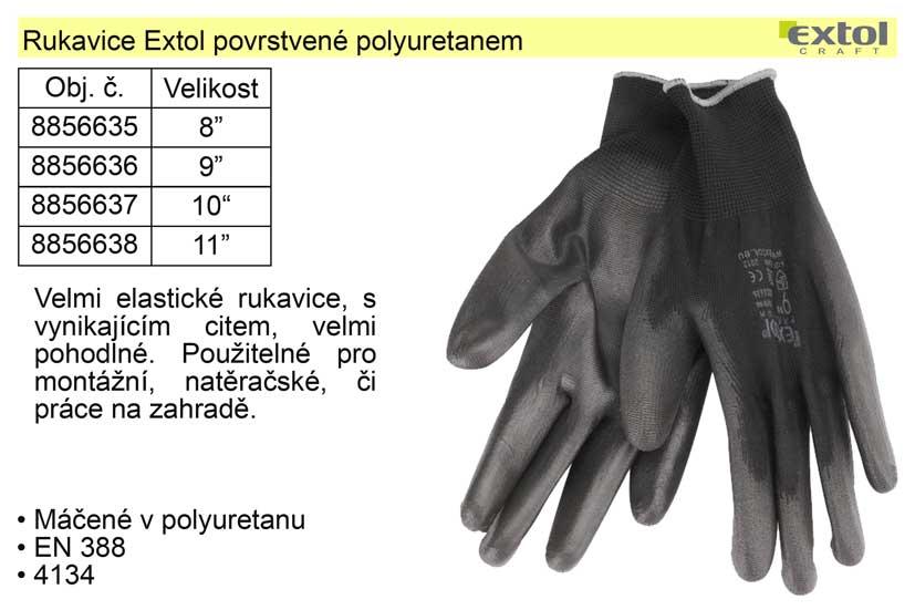 "Rukavice Extol vel.  8"" povrstvené polyuretanem"