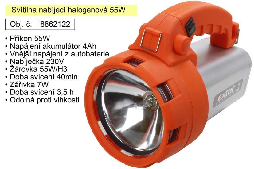 Svítilna nabíjecí halogenová 55W