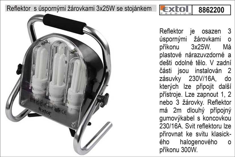 Reflektor  s úspornými žárovkami 3x25W se stojánkem
