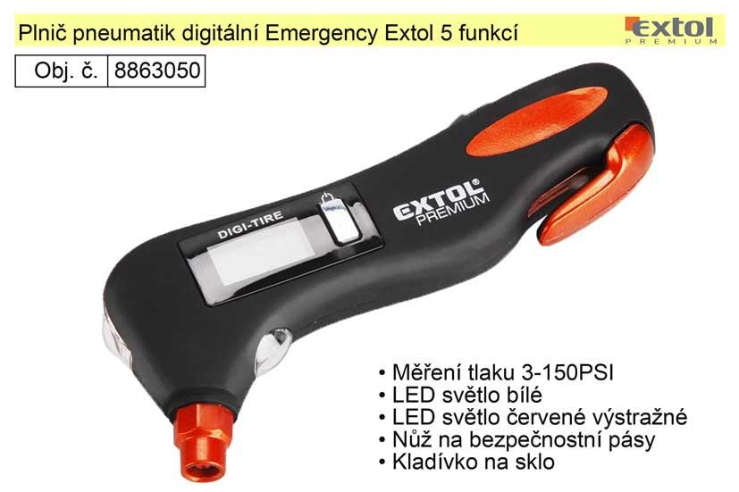 Měřič tlaku pneumatik digitální Emergency Extol 5 funkcí
