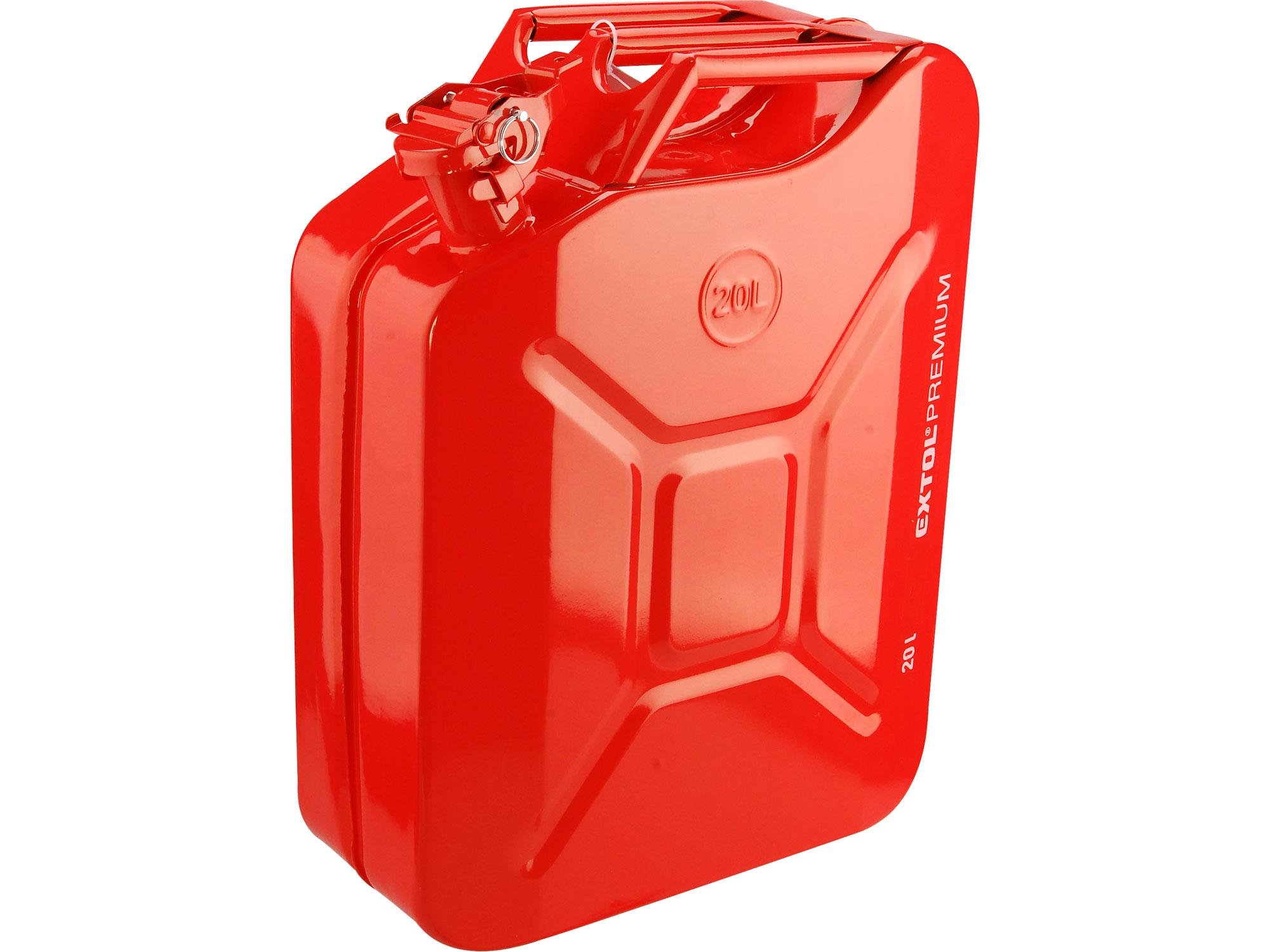 kanystr ocelový na benzín, 20l, EXTOL PREMIUM